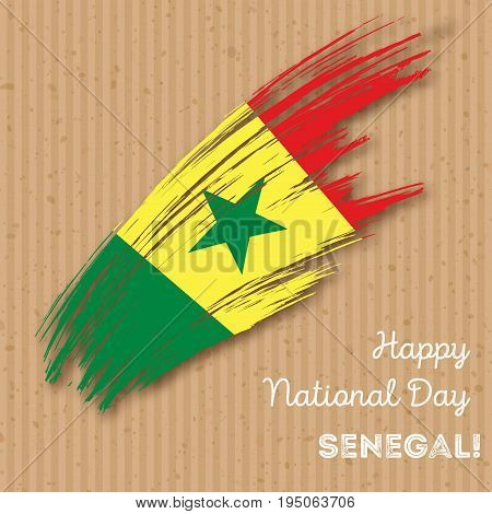 Senegal Independence Day Patriotic Design. Expressive Brush Stroke In National Flag Colors On Kraft