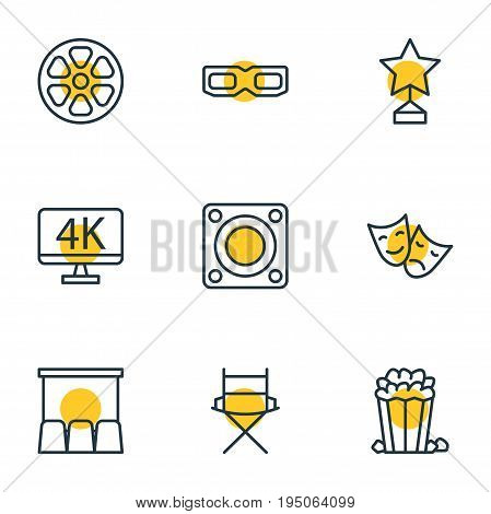 Vector Illustration Of 9 Film Icons. Editable Pack Of Tragedy, Movie Reel, Shooting Seat And Other Elements.