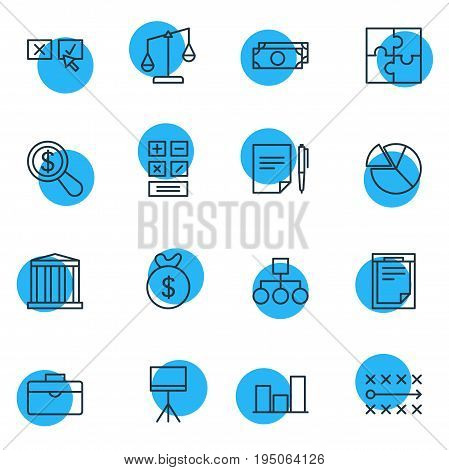 Vector Illustration Of 16 Trade Icons. Editable Pack Of Balance, Cash, Recision And Other Elements.