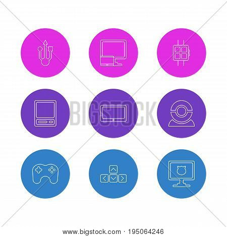 Vector Illustration Of 9 Notebook Icons. Editable Pack Of Keypad, Pda, Tablet And Other Elements.