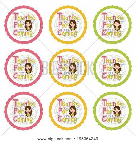 Birthday cupcake topper set with cute girls on colorful circle vector cartoon for kid cupcake topper and sticker set