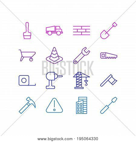 Vector Illustration Of 16 Industry Icons. Editable Pack Of Road Sign, Spanner, Handcart Elements.