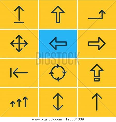 Vector Illustration Of 12 Direction Icons. Editable Pack Of Increase, Raise, Up And Other Elements.