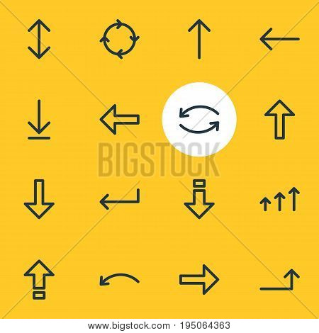 Vector Illustration Of 16 Arrows Icons. Editable Pack Of Direction, Turn, Increase And Other Elements.