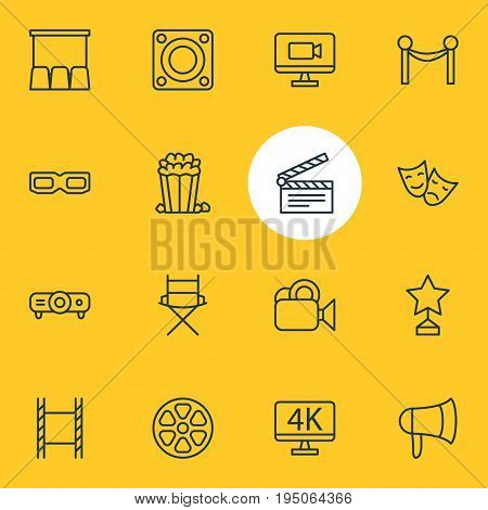 Vector Illustration Of 16 Film Icons. Editable Pack Of Shooting Seat, Resolution, Snack And Other Elements.
