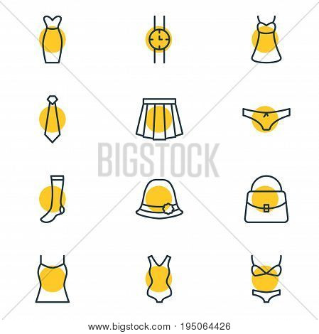 Vector Illustration Of 12 Dress Icons. Editable Pack Of Sarafan, Panama, Swimwear And Other Elements. poster