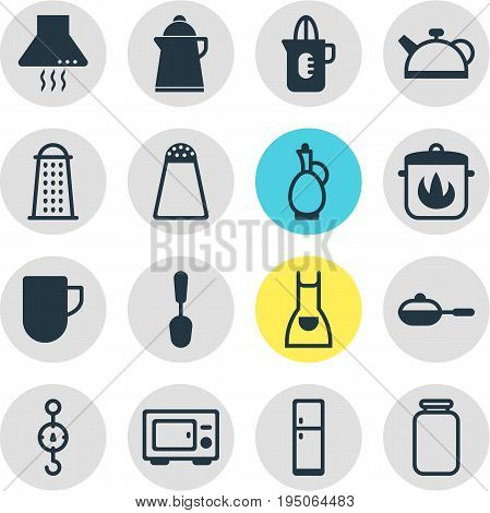 Vector Illustration Of 16 Kitchenware Icons. Editable Pack Of Tea Cup, Tablespoon, Refrigerator And Other Elements.