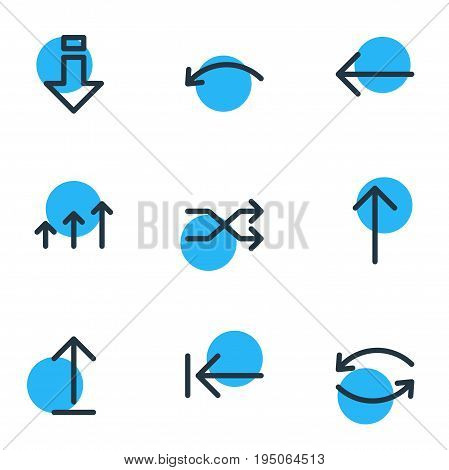 Vector Illustration Of 9 Direction Icons. Editable Pack Of Undo, Update, Submit And Other Elements.