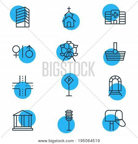 Vector Illustration Of 12 Infrastructure Icons. Editable Pack Of Basket, Road Sign, Toilet And Other Elements.