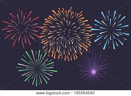 Firework on night background, anniversary bursting fireworks with stars and sparks. Vector