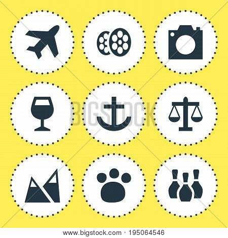 Vector Illustration Of 9 Map Icons. Editable Pack Of Aircraft, Film, Photo Device And Other Elements.