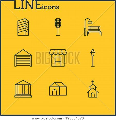 Vector Illustration Of 9 Public Icons. Editable Pack Of Parking, Lamppost, Building And Other Elements.