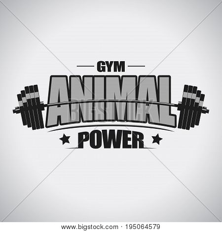 Barbell sport t-shirt. Animal power tee. Weightlifting equipment. Fitness feshion design, Gym emblem. Vector illustration
