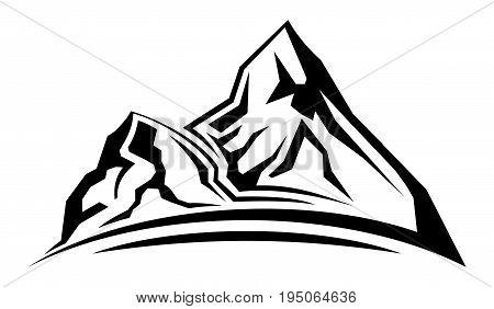 Cartoon illustration of the simple mountain silhouette