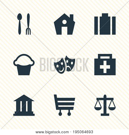 Vector Illustration Of 9 Travel Icons. Editable Pack Of Briefcase, Home, Scales And Other Elements.
