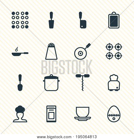 Vector Illustration Of 16 Cooking Icons. Editable Pack Of Furnace, Soup Pan, Breakfast And Other Elements.