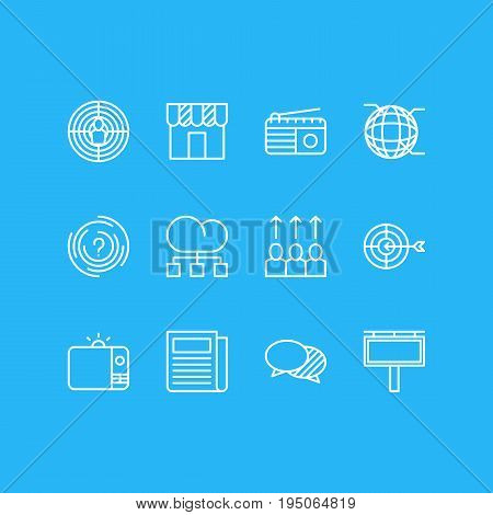 Vector Illustration Of 12 Marketing Icons. Editable Pack Of Advertising Billboard, Aiming, Goal And Other Elements.