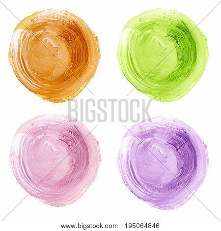 Set Of Colorful Acrylic Pastel Circles Isolated On White.