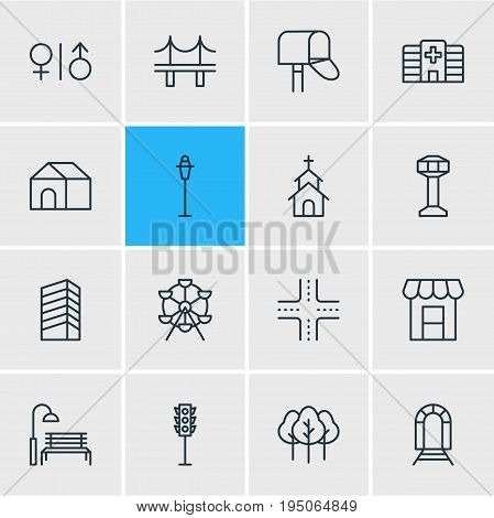 Vector Illustration Of 16 Infrastructure Icons. Editable Pack Of Subway, Semaphore, Bench And Other Elements. poster