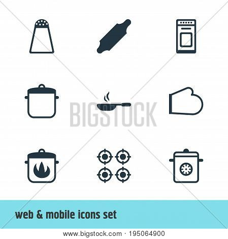 Vector Illustration Of 9 Kitchenware Icons. Editable Pack Of Soup Pan, Stewpot, Oven And Other Elements.