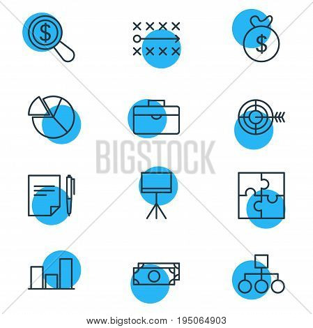 Vector Illustration Of 12 Business Icons. Editable Pack Of Riddle, Board Stand, Cash Elements.