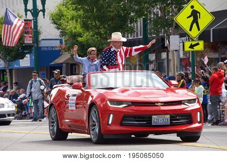 Alameda CA - July 04 2017: Bill Withrow Peralta Community College District in the Alameda 4th of July Parade one of the largest and longest Independence Day parade in the nation.