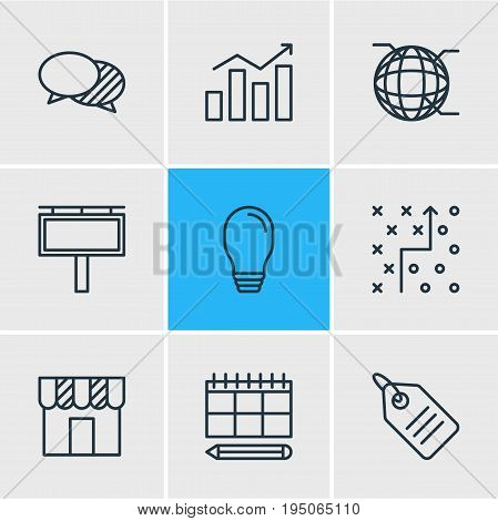Vector Illustration Of 9 Advertising Icons. Editable Pack Of Network, Discussing, Statistics And Other Elements.