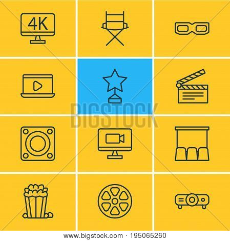 Vector Illustration Of 12 Cinema Icons. Editable Pack Of Hall, Spectacles, Clapper And Other Elements.