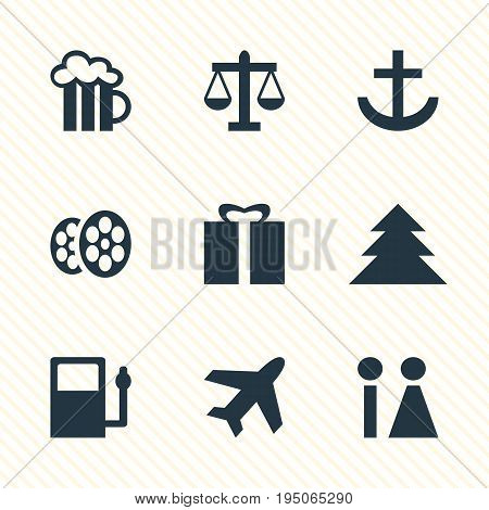 Vector Illustration Of 9 Location Icons. Editable Pack Of Refueling, Film, Scales And Other Elements.