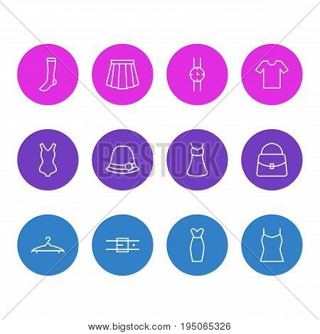 Vector Illustration Of 12 Clothes Icons. Editable Pack Of Cloakroom, Strap, Panama And Other Elements.