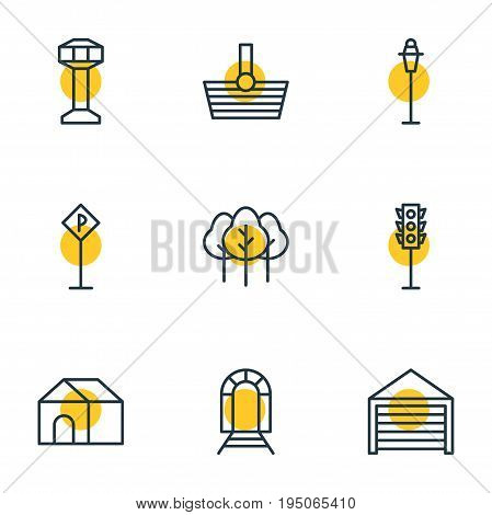 Vector Illustration Of 9  Icons. Editable Pack Of Parking, Control Tower, Forest And Other Elements.