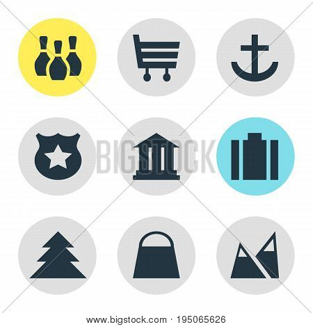Vector Illustration Of 9 Check-In Icons. Editable Pack Of Shopping Cart, Anchor, Jungle And Other Elements.