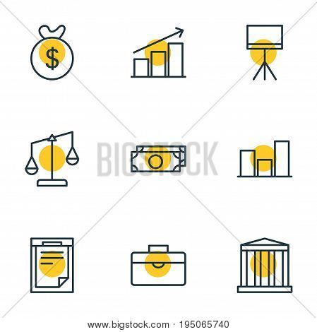 Vector Illustration Of 9 Business Icons. Editable Pack Of Columns, Portfolio, Cash And Other Elements.