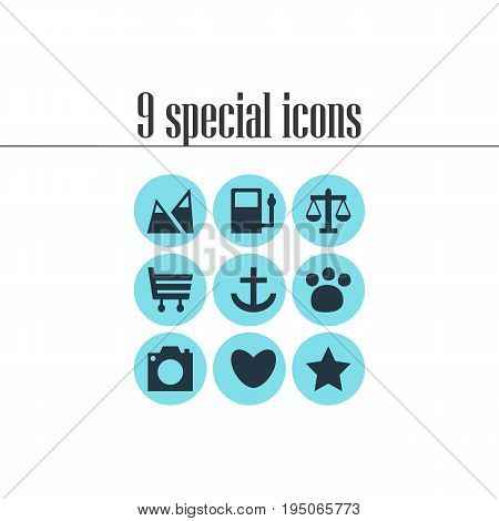 Vector Illustration Of 9 Map Icons. Editable Pack Of Refueling, Heart, Shopping Cart And Other Elements.