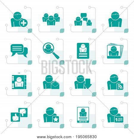 Stylized Social Media and Network icons - vector icon set