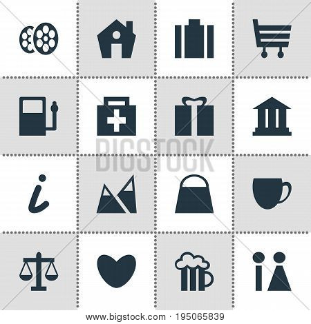Vector Illustration Of 16 Check-In Icons. Editable Pack Of Drugstore, Scales, Beer Mug And Other Elements.