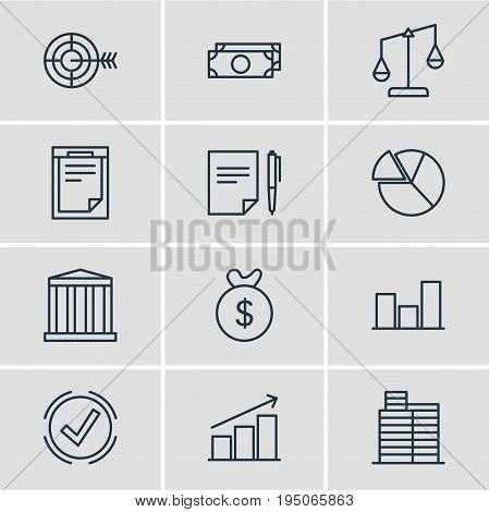 Vector Illustration Of 12 Trade Icons. Editable Pack Of Columns, Balance, Agreement And Other Elements.