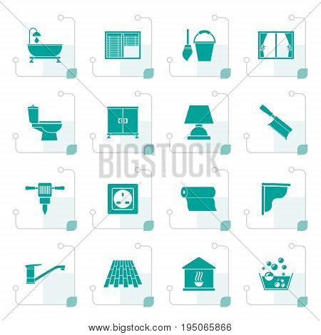Stylized Construction and building equipment Icons - vector icon set 2