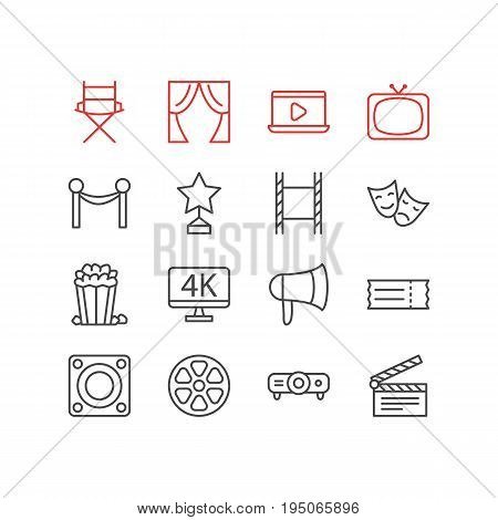 Vector Illustration Of 16 Cinema Icons. Editable Pack Of Snack, Megaphone, Filmstrip And Other Elements.