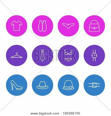 Vector Illustration Of 12 Dress Icons. Editable Pack Of Panties, Cloakroom, Swimsuit And Other Elements.
