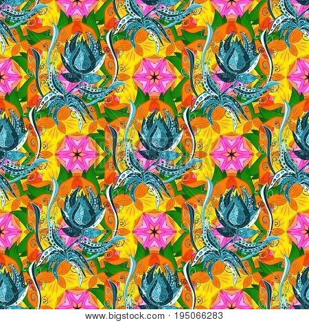 Seamless floral pattern with flowers watercolor. Vector flower illustration. Seamless pattern with floral motif.