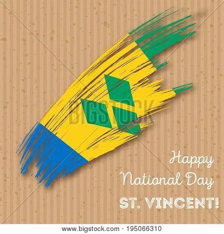 St. Vincent Independence Day Patriotic Design. Expressive Brush Stroke In National Flag Colors On Kr