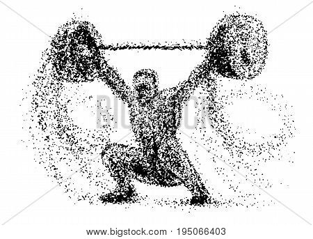 Weightlifter of the particles. Silhouette of a Weightlifter from particles color can be changed in one click. Weightlifter player