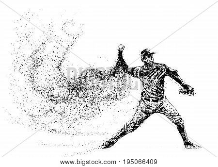 Baseball of the particles. Silhouette of a Baseball player from particles. Text and background on a separate layer color can be changed in one click. Baseball player