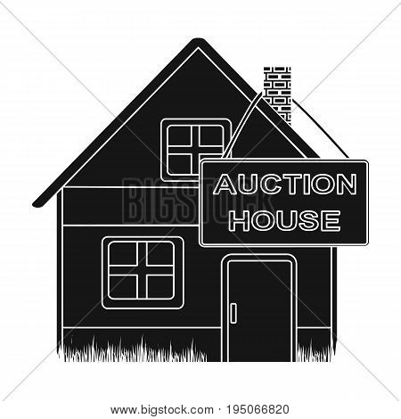 Auction house for sale. E-commerce single icon in black style vector symbol stock illustration .
