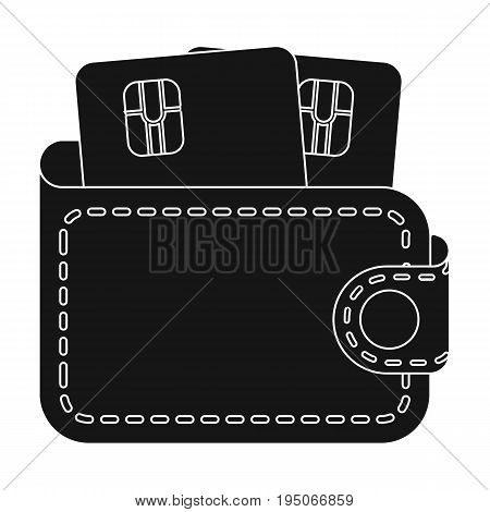 Leather wallet with credit cards. E-commerce single icon in black style vector symbol stock illustration .