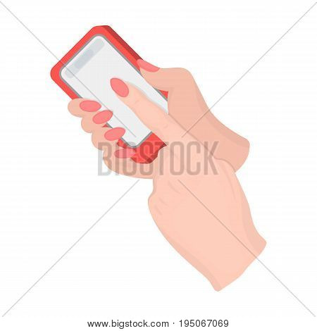 Mobile phone in hand. E-commerce single icon in cartoon style vector symbol stock illustration .