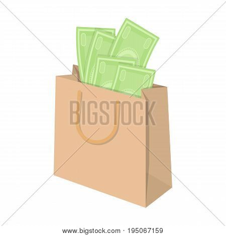 Bag with money. E-commerce single icon in cartoon style vector symbol stock illustration .