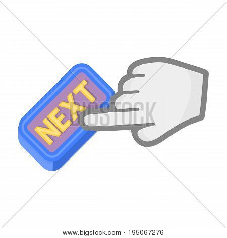 Click the button next. E-commerce single icon in cartoon style vector symbol stock illustration .