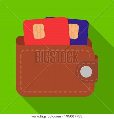 Leather wallet with credit cards. E-commerce single icon in flat style vector symbol stock illustration .